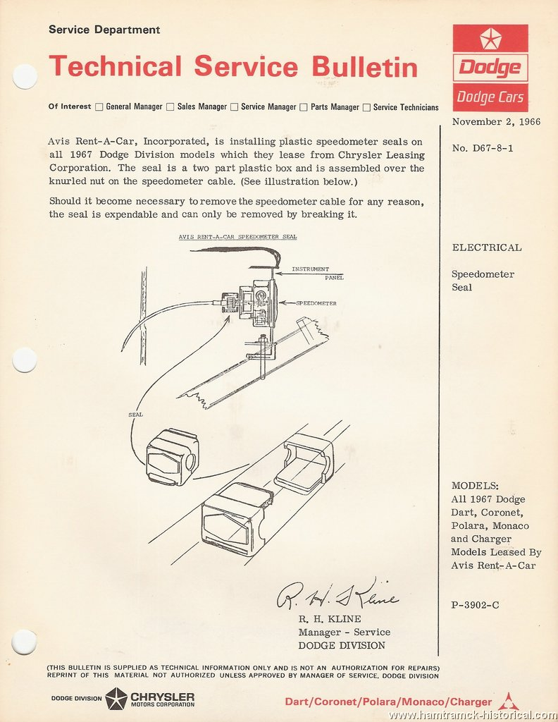 The 1970 Hamtramck Registry  U0026quot 1967 Dodge Model Tsbs Index U0026quot  Page