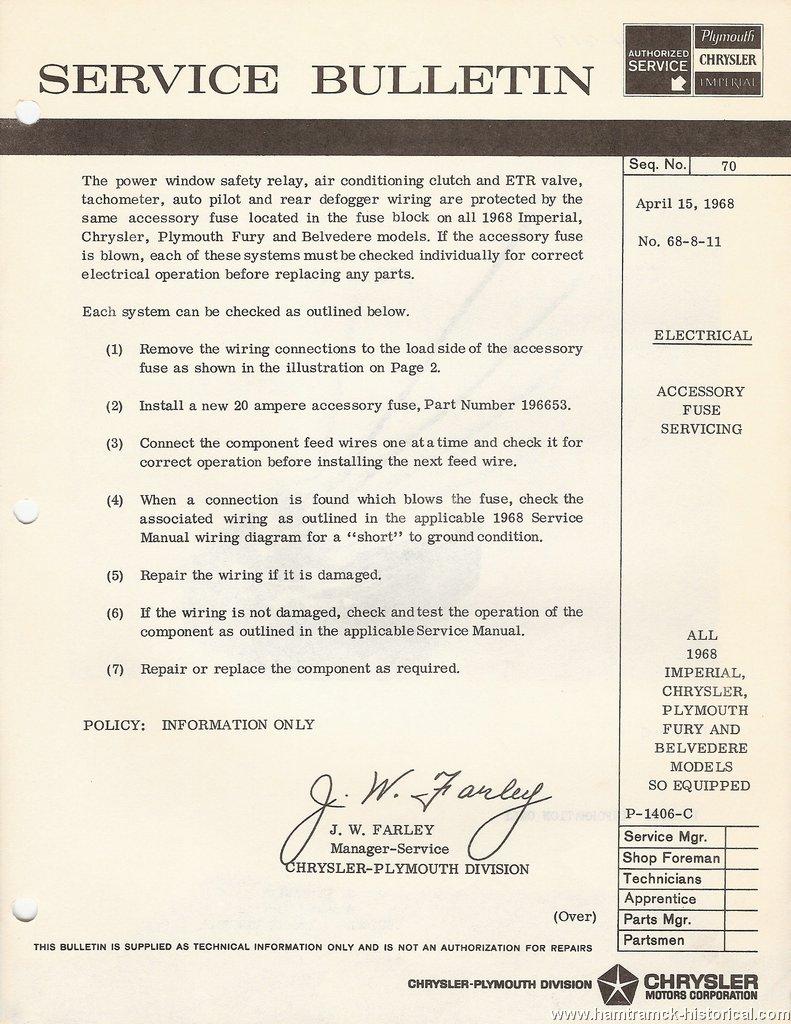 The 1970 Hamtramck Registry 1968 Plymouth Chrysler Imperial Tsbs Gtx Wiring Diagram No