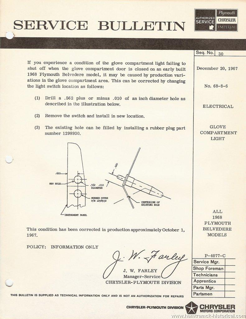 The 1970 Hamtramck Registry 1968 Plymouth Chrysler Imperial Tsbs 1967 Gtx Wiring Diagram All Belvedere 1