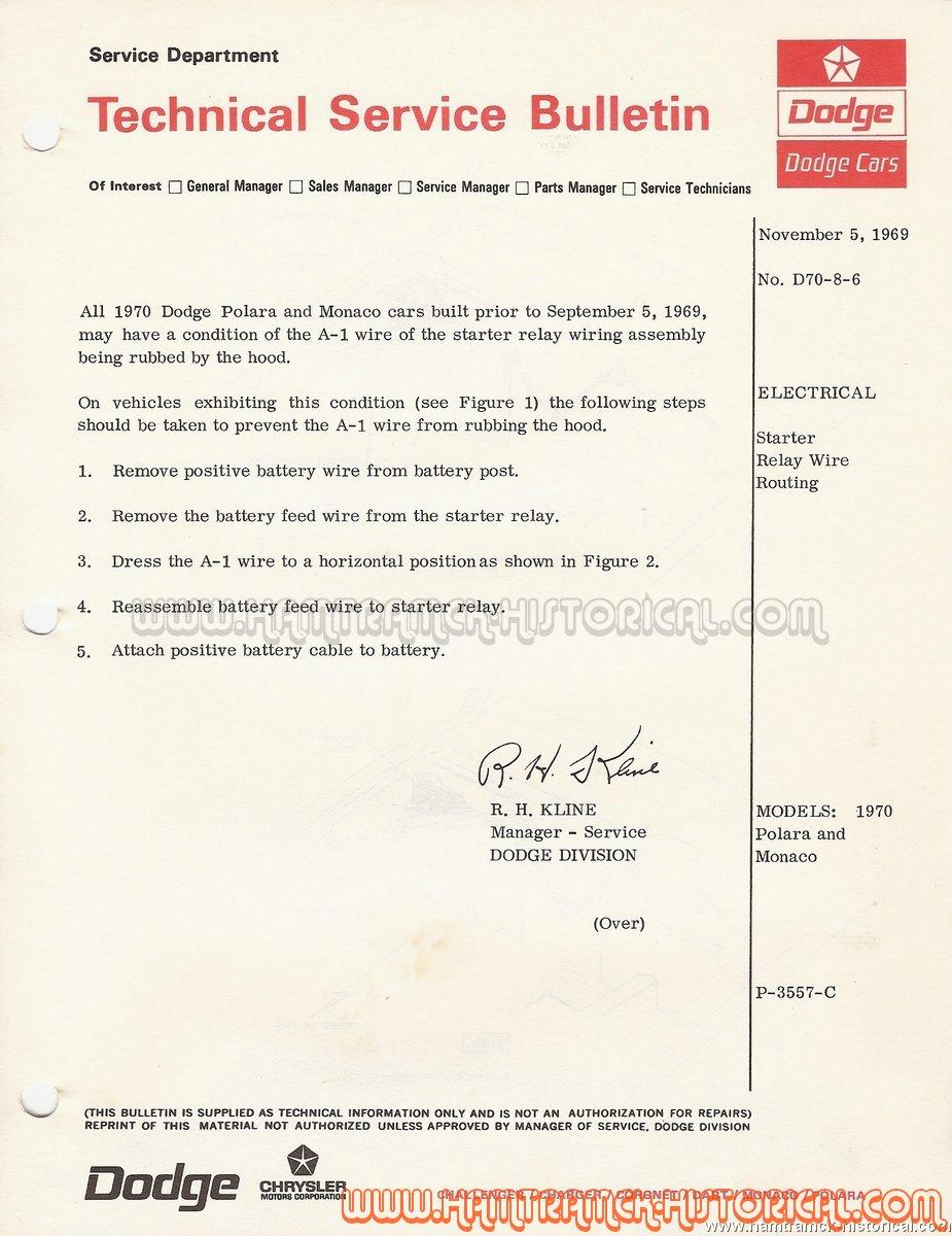 The 1970 Hamtramck Registry Dodge Model Tsbs Index Page Chrysler Wiring Site D70 8