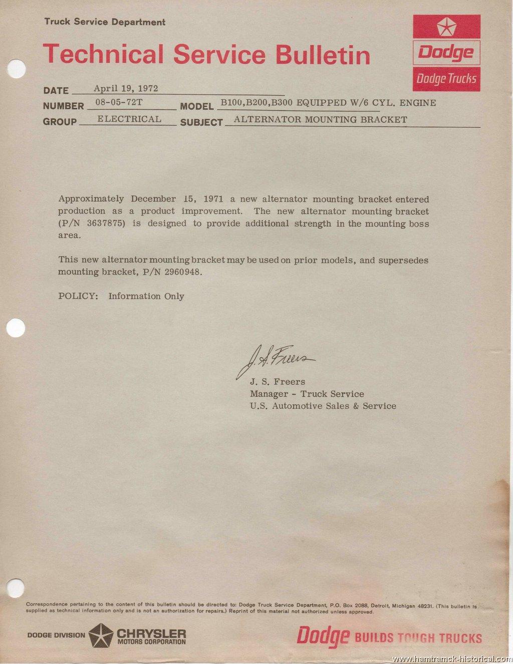 The 1970 Hamtramck Registry 1972 Dodge Tsbs Page Charger Alternator Wiring Engine 1