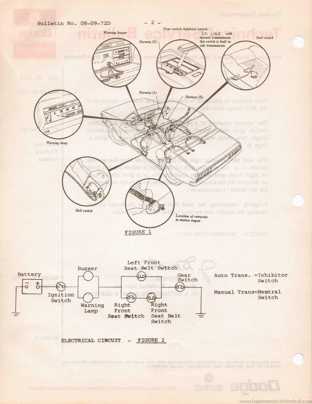 The 1970 Hamtramck Registry 1972 Dodge Tsbs Page Wiring Diagram Seat Belt Reminder Warning System Colt 1 2