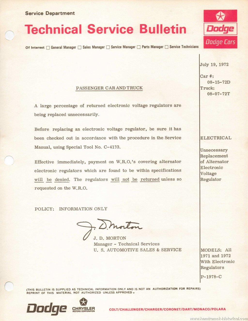 The 1970 Hamtramck Registry 1972 Dodge Tsbs Page Charger Alternator Wiring Regulator All Models With Electronic Regulators 1