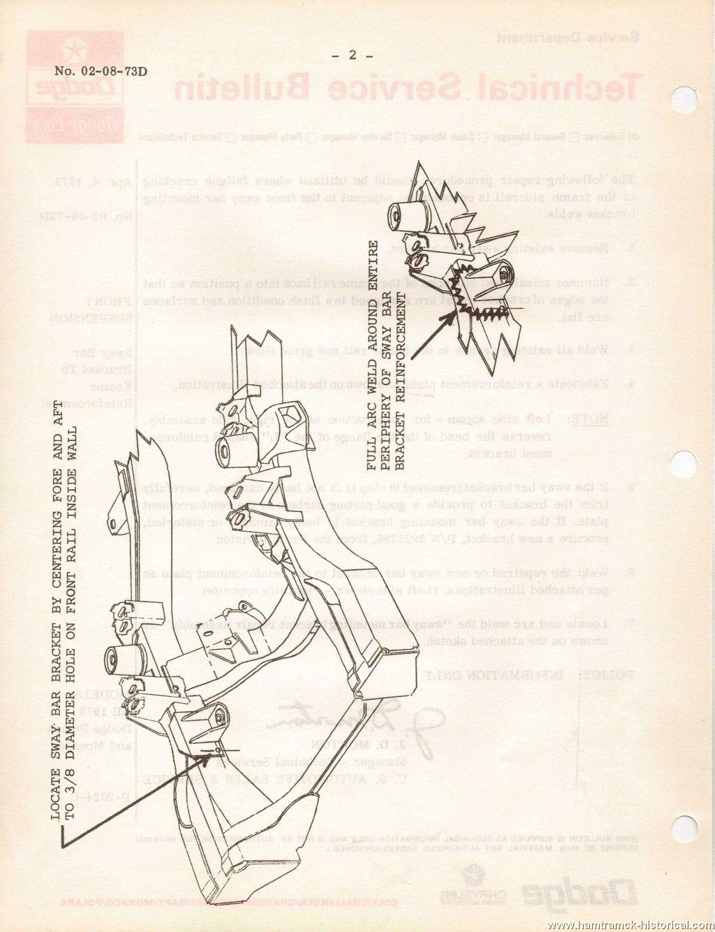 The 1970 Hamtramck Registry 1973 Dodge Tsbs Page 3 8 Chrysler Engine Motor Mount Diagram 02 09