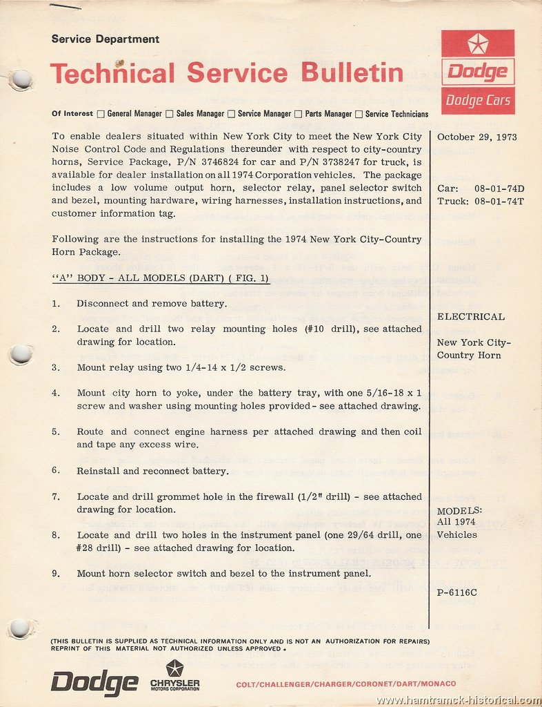 The 1970 Hamtramck Registry 1974 Dodge Model Tsbs Index Page Challenger Wiring Harness All Vehicles 1