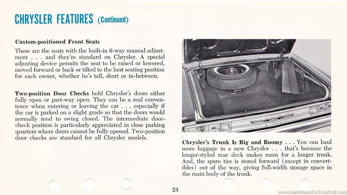 The 1970 Hamtramck Registry 1965 Chrysler Dealership Data Book Features And Specifications Image 65 Chrylser Specs 0006