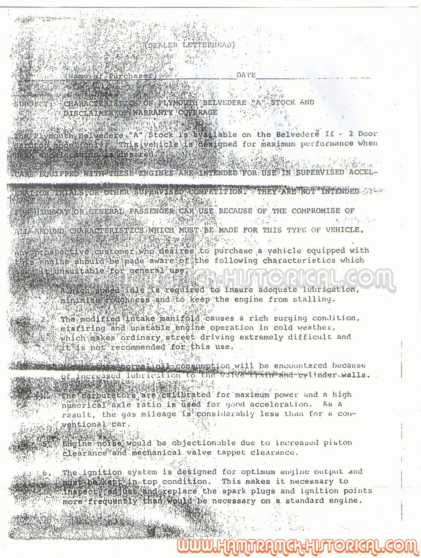 the 1970 hamtramck registry - dealership letters