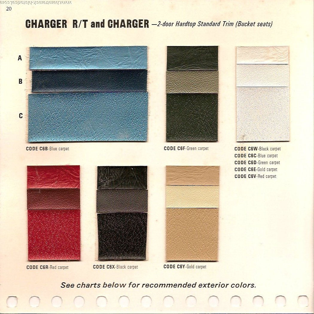 The 1970 hamtramck registry 1968 dodge color trim book charger image 68charger0001 nvjuhfo Images
