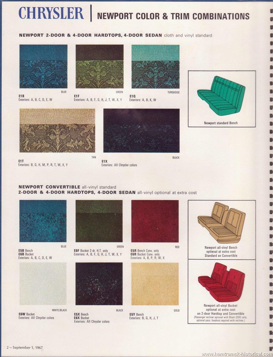 The 1970 Hamtramck Registry 1968 Chrysler Color Amp Trim Book