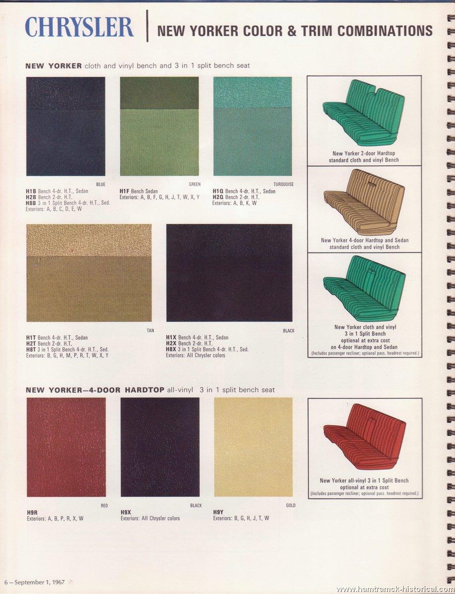 Car Paint Colors >> The 1970 Hamtramck Registry - 1968 Chrysler Color & Trim Book