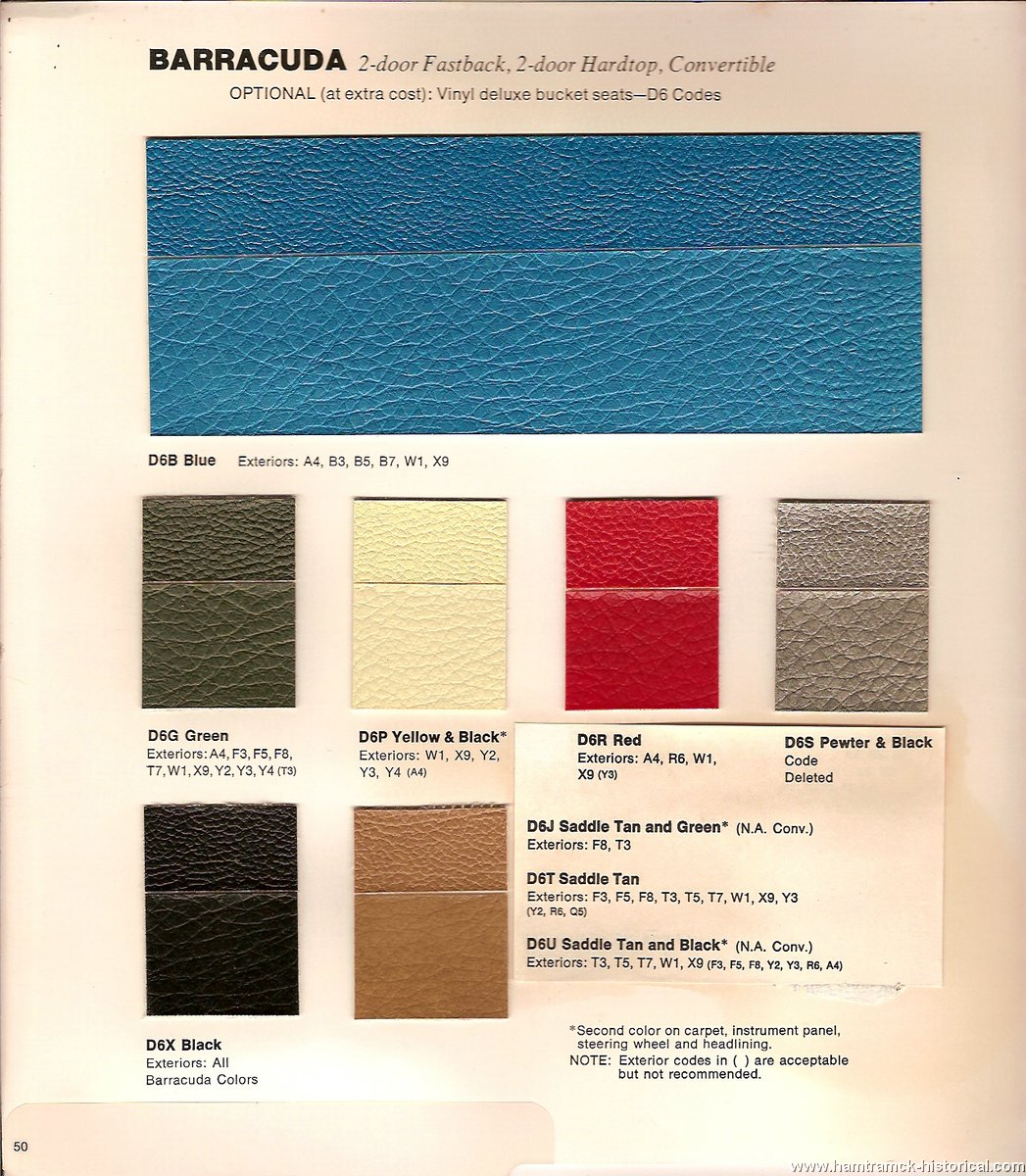 1969 Mopar Interior Color Codes