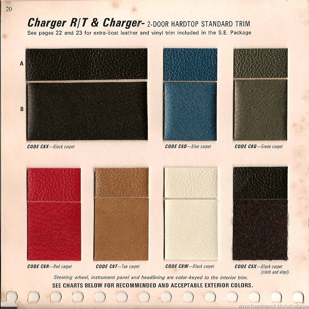 The 1970 hamtramck registry 1969 dodge color trim book charger image 69charger0002 nvjuhfo Images
