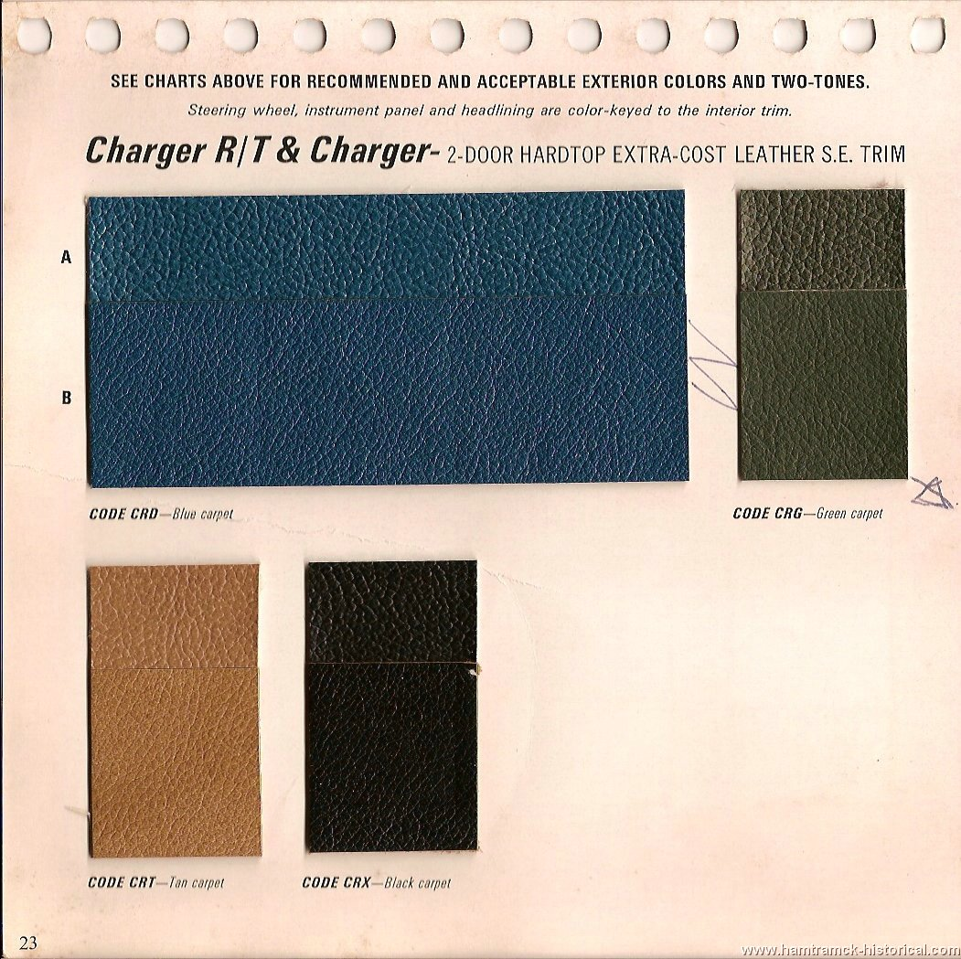 The 1970 Hamtramck Registry - 1969 Dodge Color & Trim Book