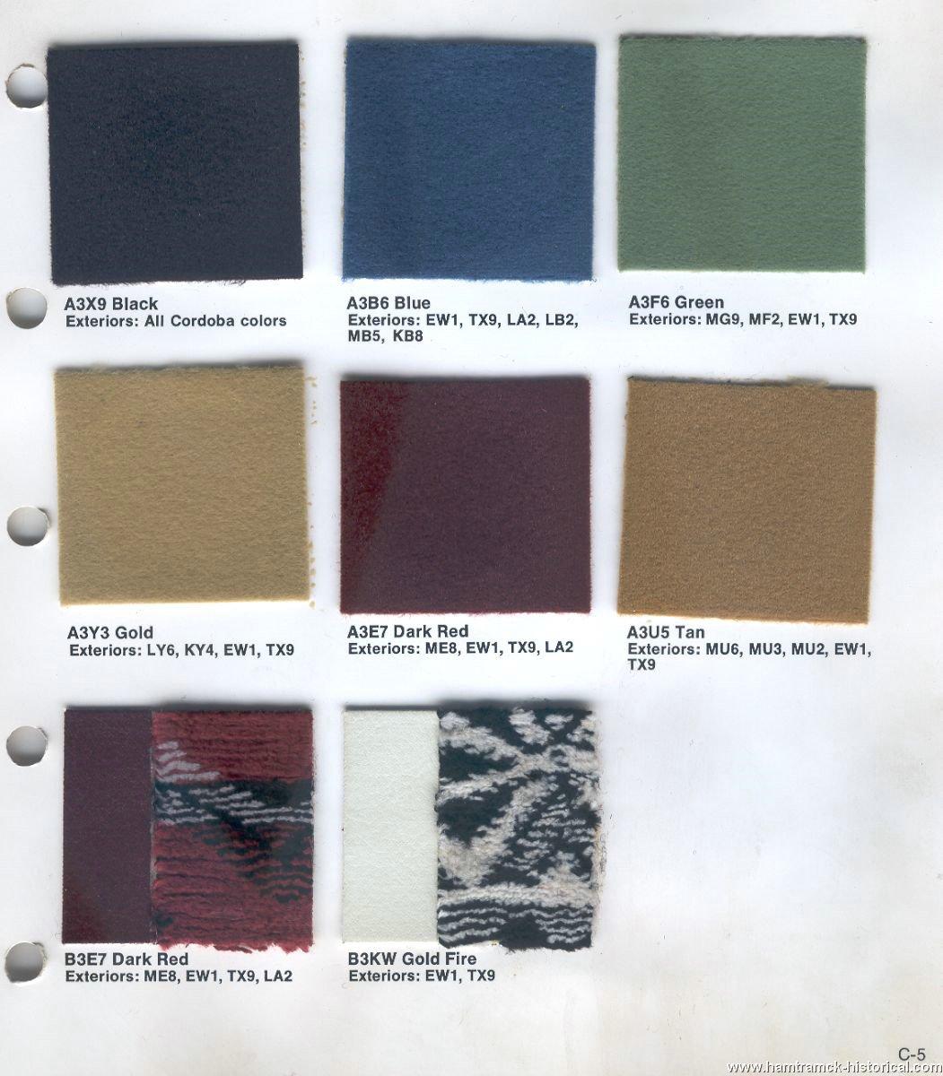 The 1970 Hamtramck Registry 1976 Chrysler Color Amp Trim