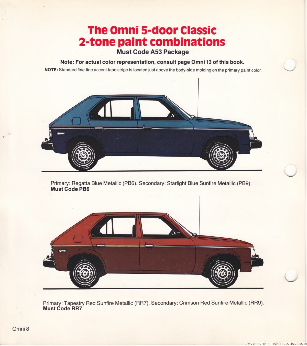 The 1970 Hamtramck Registry 1978 Dodge Color Trim Book Omni Alfa Romeo Paint Codes Image 78 0008
