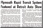 Image: Plymouth Rapid Transit System Featured at Detroit Auto Show - December 1969