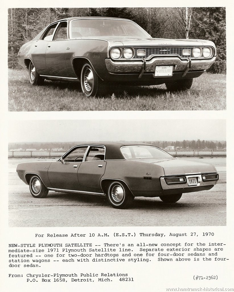 1971 Plymouth Satellite 4 Door http://www.hamtramck-historical.com/vintageAdvertising/1971PlymouthPressRelease-01.shtml